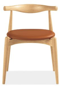 Hans Wegner Elbow Chair in Oak with Brown Leather