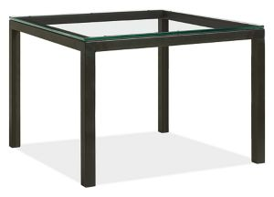 Parsons Custom 50sq 29h Dining Table with Clear Glass Top