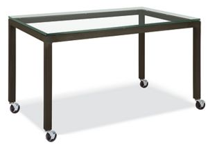 Parsons Custom 55x22 30h Table/Desk with Casters and Clear Glass Top