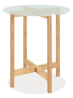 Nash 27r 29h End Table in Maple with Frosted Glass Top