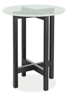 Nash 18r 22h End Table in Ebony with Frosted Glass Top