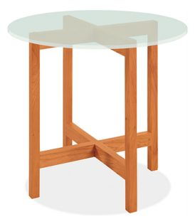 Nash 27r 24h End Table in Cherry with Frosted Glass Top