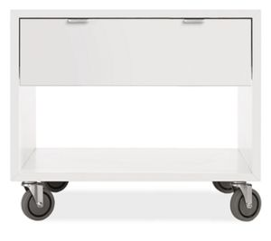 Copenhagen 29w 25h Nightstand in White with Casters