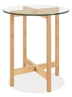 Nash 27r 29h End Table in Maple with Glass Top