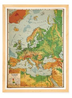 Vintage Large School Map with Maple Frame