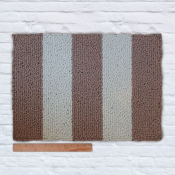 Waypoint Wool Rug - Duo Stripe Bark / Bluebell