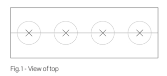 Figure 1 - technical drawing showing position of four holes in the top board