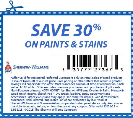 graphic relating to Sherwin Williams Printable Coupon identified as 30% off Sherwin Williams Paints Stains the complete thirty day period of