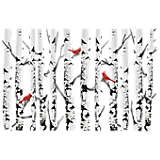 Aspen Trees With Cardinals