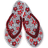 Red and Gray Sequin Flip Flops