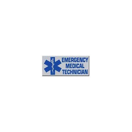 Emergency Medical Technician Reflective Decal Rectangular 1-3/4