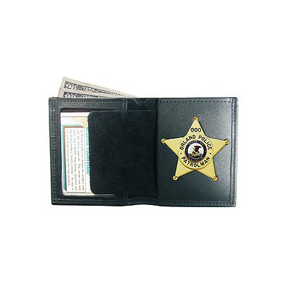 Boston Leather: Black Leather Book-Style Badge/ID Billfold Wallet
