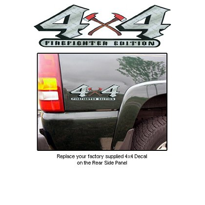 TheFireStore Truck Decal, 4 X 4, Diamond Plate w/ Crossed Axes