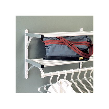 Glaro Wall Mounted Aluminum Coat Rack, Two Shelves w/Hanger Bar