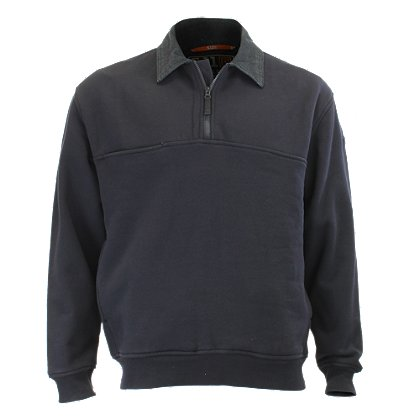 5.11 Tactical 1/4 Zip Job Shirt w/Denim Collar and Elbows, Fire Navy