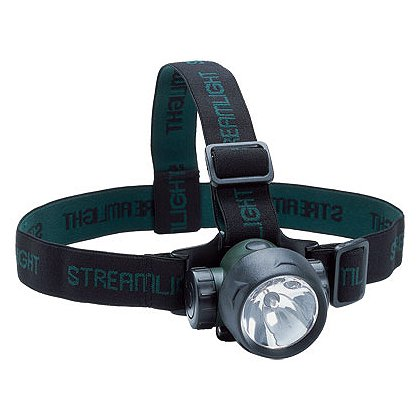 Streamlight: Trident LED Green Headlamp, 3 AAA Batteries, 80 Lumens, Elastic Head Strap and Rubber Hard Hat Strap
