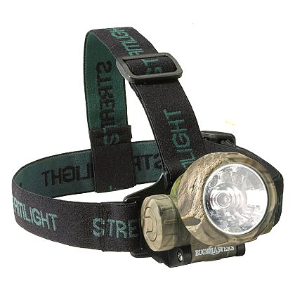 Streamlight: Buckmasters Trident C4 White LED & Green LED Headlamp, 3 AAA Batteries, 12 Lumens, Elastic Head Strap and Rubber Hard Hat Strap