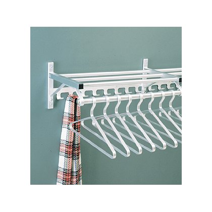 Glaro Wall Mounted Aluminum Coat Rack, One Shelf w/Hook Strip & Hanger Bar