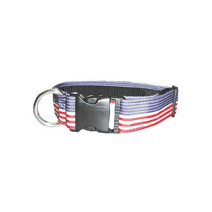 Boston Leather Police K-9 Adjustable Patriotic Nylon Collar
