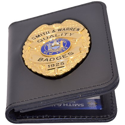 Smith & Warren Duty Leather Book Style Case, Recessed Double ID Case With Outside Badge Mount