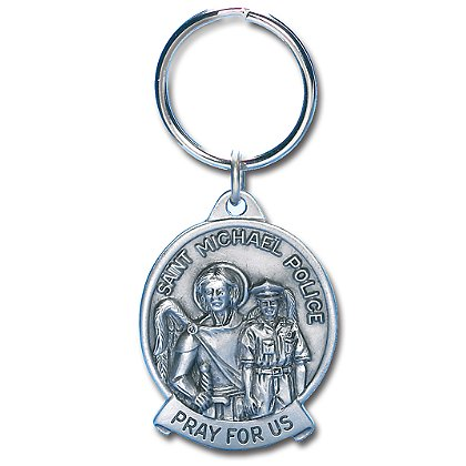 Blackinton Round St. Michael Keychain