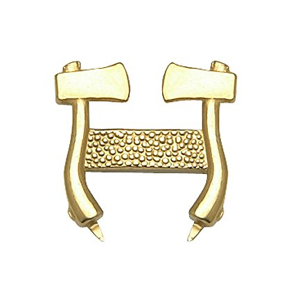 Collar Pin: Gold Standing Axes