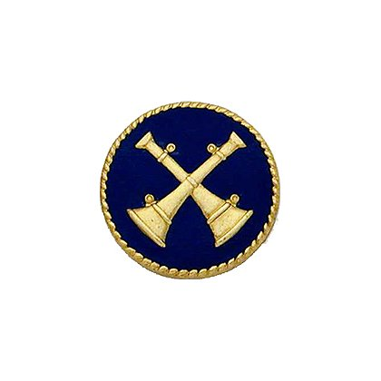 Smith & Warren Collar Insignia, 2 Crossed Bugles w/Blue Enamel