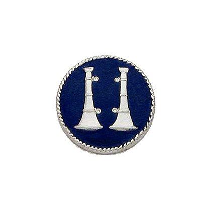Smith & Warren Collar Insignia, 2 Standing Bugles w/Blue Enamel