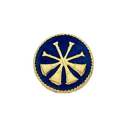 Smith & Warren Collar Insignia, 4 Crossed Bugles w/Blue Enamel