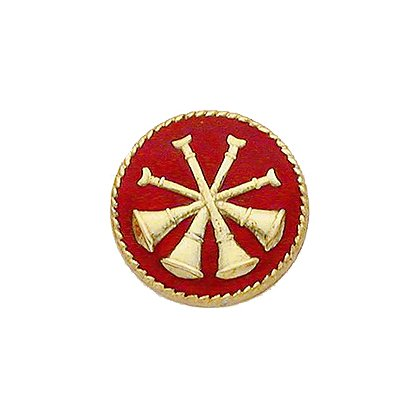 Smith & Warren Collar Insignia, 4 Crossed Bugles w/Red Enamel