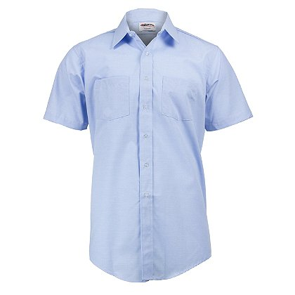 Elbeco Men's Blue Short Sleeve Express Dress Shirt, Light Blue