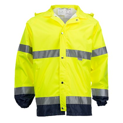 Lakeland: Hi-Vis Rain Jacket with Reflective Trim, ANSI 107-1999 Class 3