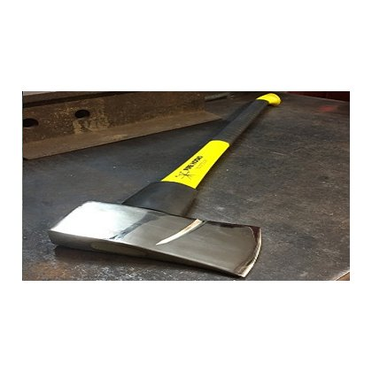 Fire Hooks Unlimited: 8lbs Chrome Forcible Entry Axe with Marrying Slot, Fiberglass Yellow Handle