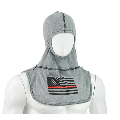 Majestic: PAC II Firefighter Support Fire Ink Hood, Rayon Kevlar with Red Striped Flag