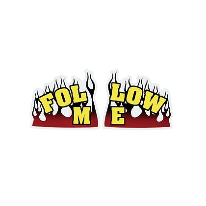 TheFireStore FOLLOW ME with Flames 2-Piece Decal, 6
