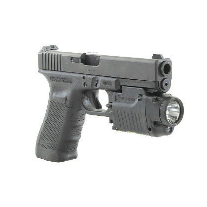 "Glock OEM: GTL 22 Tactical Light with Dimmer and Red Class 3R Laser, 2 CR123A Lithium Batteries, 60 Lumens, 3.25"" Long"