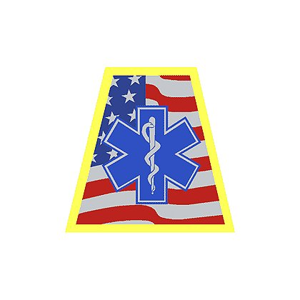 HelmeTets: Helmet Tetrahedron Waving American Flag with Star of Life