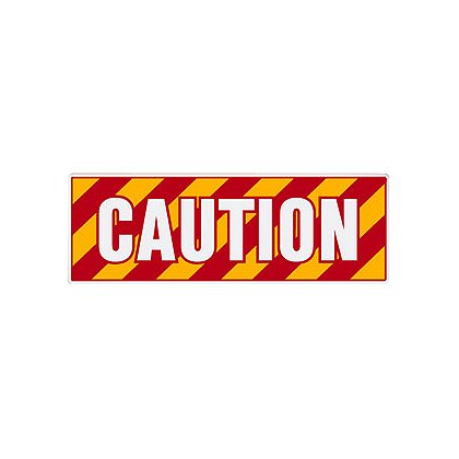 TheFireStore: Inside Apparatus Compartment Decal, Red, Yellow, White Chevron Stripes with CAUTION, Horizontal Left