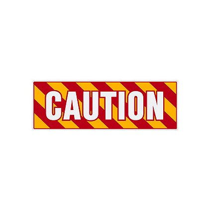 TheFireStore Inside Apparatus Compartment Decal Red, Yellow, White Chevron Stripes with CAUTION, Horizontal Right