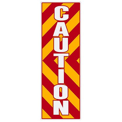 TheFireStore: Inside Apparatus Compartment Decal, Red, Yellow, White Chevron Stripes with CAUTION, Vertical Left