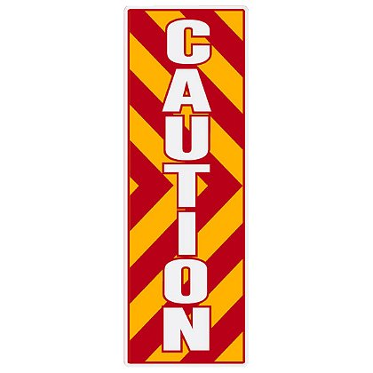 TheFireStore: Inside Apparatus Compartment Decal, Red, Yellow, White Chevron Stripes with CAUTION, Vertical Right