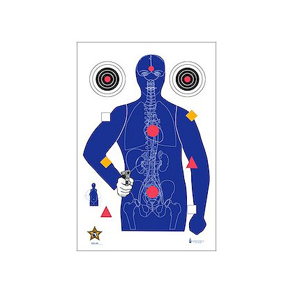 LET, Inc Modified B-21E Target with Added Human Anatomy, 50ct