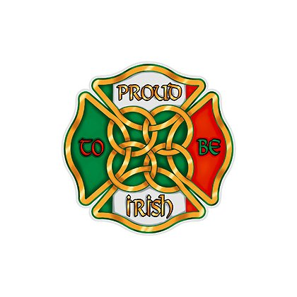 Maltese Cross Proud to be Irish Reflective Decal, 2 in.