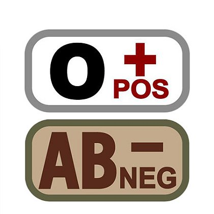 MIL-SPEC Monkey Blood Type Patches