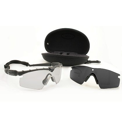 Oakley: Standard Issue Ballistic M Frame 2.0 Strike Array Safety / Sunglasses, Black Frame, Clear & Grey Lenses, with Case & Strap