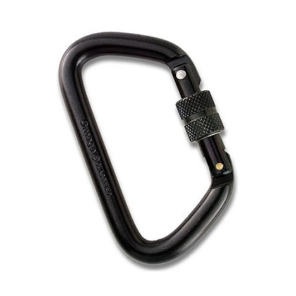 "Omega 1/2"" Steel Large D Screw-Lok Carabiner, NFPA Certified, Black"
