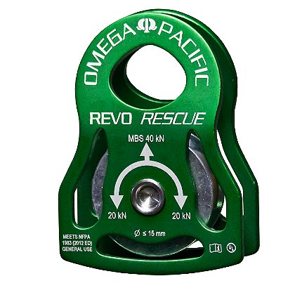 Omega Revo Rescue Pulley, Green