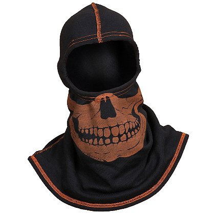 Majestic: PAC F20 Black Ultra C6 Hood with High Vis Orange Fire Ink Skull and Threading