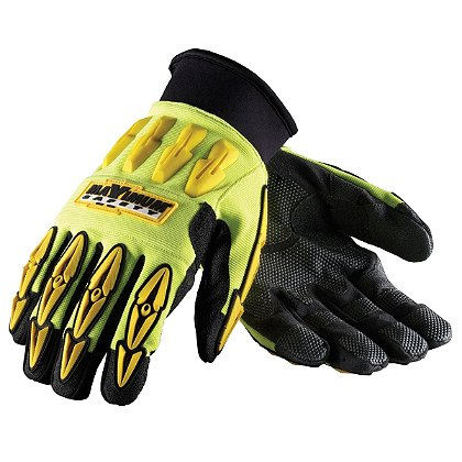 PIP Maximum Safety, Mad Max, Professional Workman's Glove, Black Synthetic Leather Palm, Hi-Vis Yellow/Back