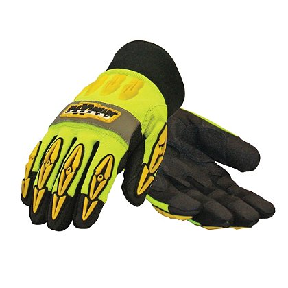 PIP: Maximum Safety, Mad Max Thermo Professional Workman's Glove, Black Synthetic Leather Palm Hi-Vis Yellow/Back